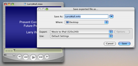 Screenshot of the iPod export dialog in QuickTime Pro